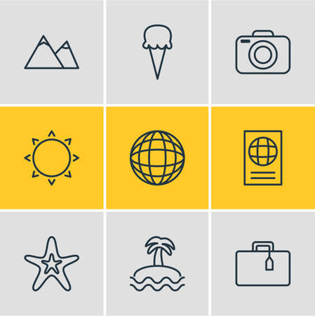 Vector Illustration Of 9 Summer Icons. Editable Pack Of Fish, Certificate, Sunny And Other Elements.