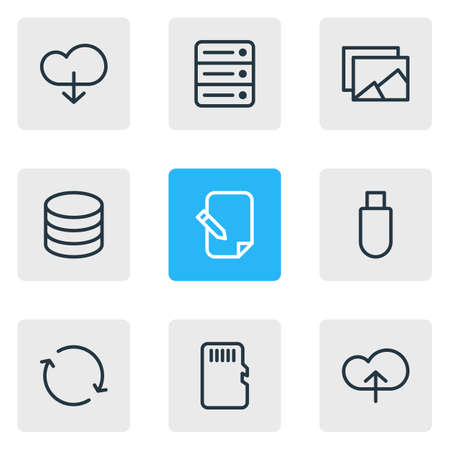 repeatability: Vector Illustration Of 9 Memory Icons. Editable Pack Of Database, Cloud, Memory And Other Elements.