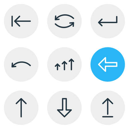 Vector Illustration Of 9 Arrows Icons. Editable Pack Of Upwards, Increase, Turn And Other Elements. Illustration