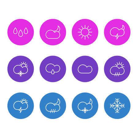 Vector Illustration Of 12 Sky Icons. Editable Pack Of Snow, Moon Month, Rain And Other Elements. Illustration