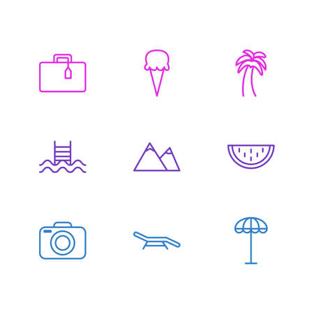 Vector Illustration Of 9 Season Icons. Editable Pack Of Melon, Sorbet, Photo Apparatus And Other Elements.