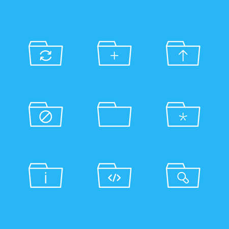 Vector Illustration Of 9 Dossier Icons. Editable Pack Of Information, Script, Significant And Other Elements.