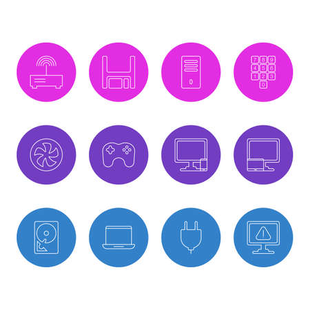 Vector Illustration Of 12 Computer Icons. Editable Pack Of Hard Drive Disk, Notebook, Tablet With PC And Other Elements.