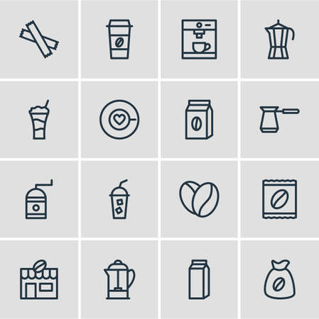 Vector Illustration Of 16 Coffee Icons. Editable Pack Of Bag, Coffee To Go, House And Other Elements.
