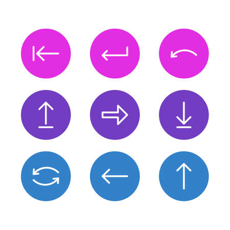 Vector Illustration Of 9 Direction Icons. Editable Pack Of Upwards, Left, Undo And Other Elements.