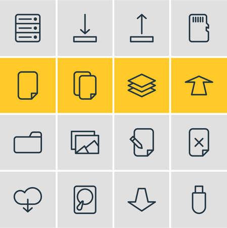 Illustrazione vettoriale di 16 icone di archiviazione. Pacchetto modificabile di elementi verso il basso, di download, verso l'alto e altri. Archivio Fotografico - 84473482