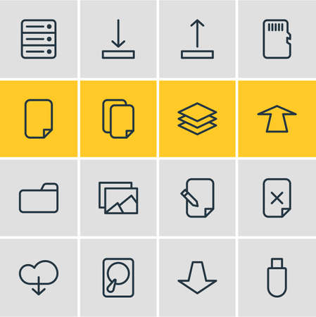 transmit: Vector Illustration Of 16 Storage Icons. Editable Pack Of Downward, Download, Upward And Other Elements.