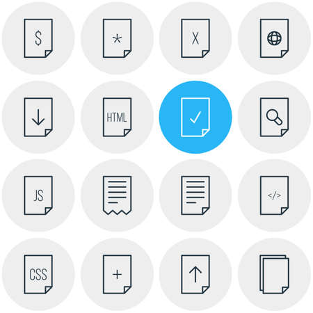 html: Vector Illustration Of 16 Page Icons. Editable Pack Of Remove, Script, HTML And Other Elements.