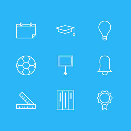 Vector Illustration Of 9 Education Icons. Editable Pack Of Bookshelf, Bulb, Write Table And Other Elements.