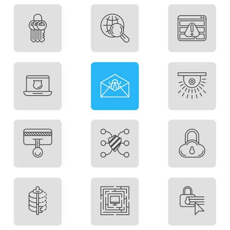 web browser: Vector Illustration Of 12 Privacy Icons. Editable Pack Of System Security, Browser Warning, Camera And Other Elements.