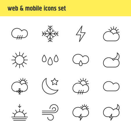 Vector Illustration Of 16 Atmosphere Icons. Editable Pack Of Sunrise, Sunlight, Lightning And Other Elements.