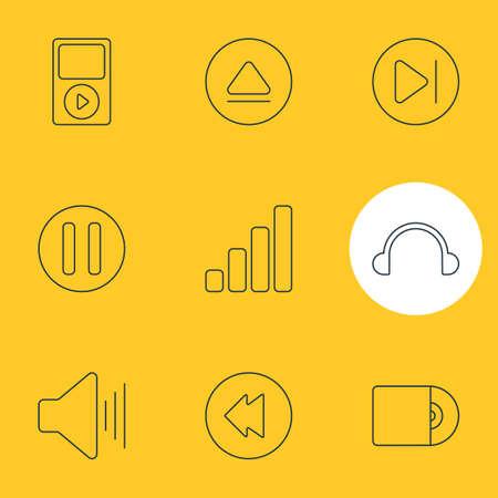 Illustrazione vettoriale di 9 icone di melodia. Modificabile Pack of Lag, Mp3, Volume Up e altri elementi.