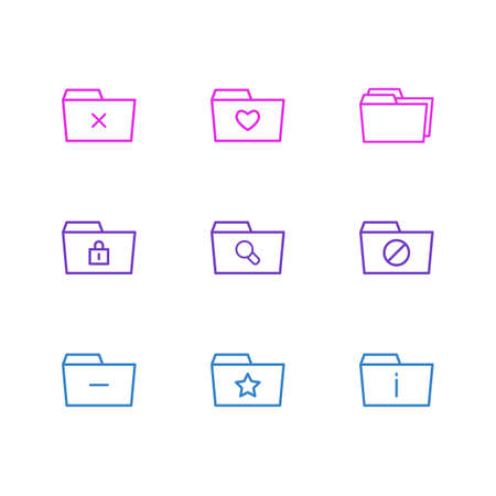 Vector Illustration Of 9 Document Icons. Editable Pack Of Folders, Minus, Liked And Other Elements. 向量圖像
