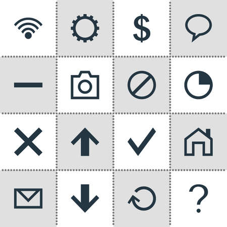 negative area: Vector Illustration Of 16 Interface Icons. Editable Pack Of Wrong, Letter, Help And Other Elements. Illustration