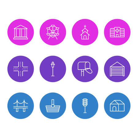 Vector Illustration Of 12 Infrastructure Icons. Editable Pack Of Building, Clinic, Mail Box And Other Elements. Illustration