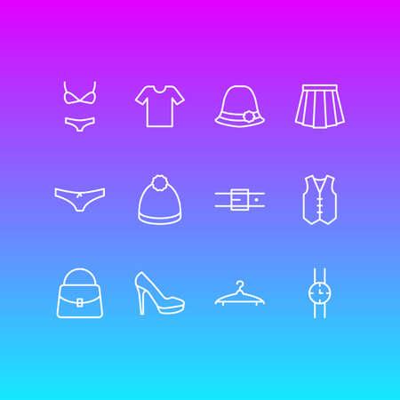 Vector Illustration Of 12 Dress Icons. Editable Pack Of Sandal, Handbag, Pompom Elements.