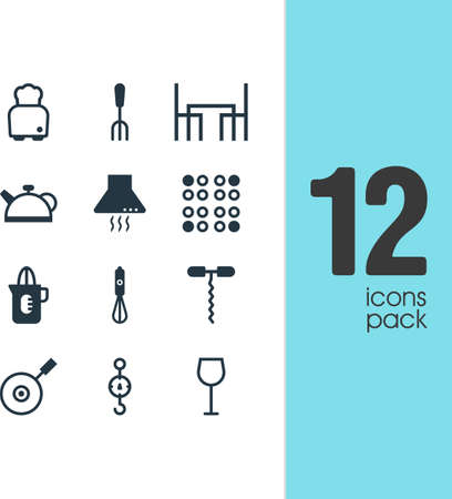 steelyard: Vector Illustration Of 12 Kitchenware Icons. Editable Pack Of Steelyard, Bread, Shaker And Other Elements.