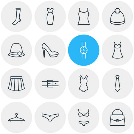 petticoat: Vector Illustration Of 16 Garment Icons. Editable Pack Of Swimwear, Cravat, Sarafan And Other Elements. Illustration