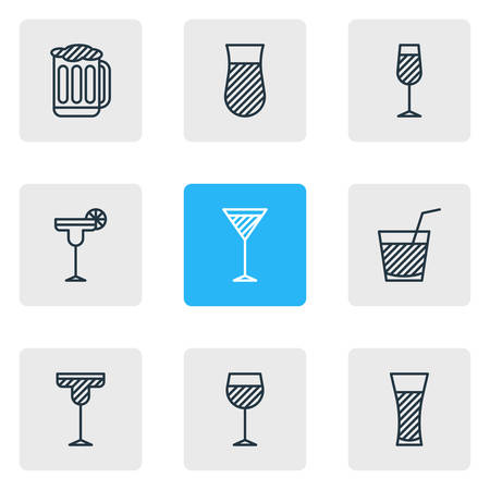 Vector Illustration Of 9 Drinks Icons. Editable Pack Of Drink, Wineglass, Goblet And Other Elements. Illustration