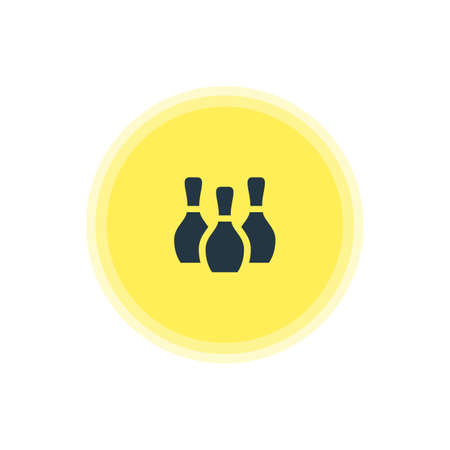 Vector Illustration Of Bowling Pins Icon. Beautiful Travel Element Also Can Be Used As Skittles Element.