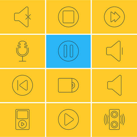 Vector Illustration Of 12 Melody Icons. Editable Pack Of Mp3, Start, Amplifier And Other Elements.