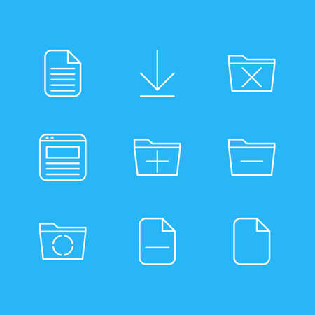 Vector Illustration Of 9 Workplace Icons. Editable Pack Of Blank, Minus, Deleting Folder And Other Elements.