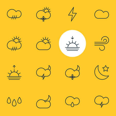Vector Illustration Of 16 Weather Icons. Editable Pack Of Sun, Fulminant, Moon Month And Other Elements.