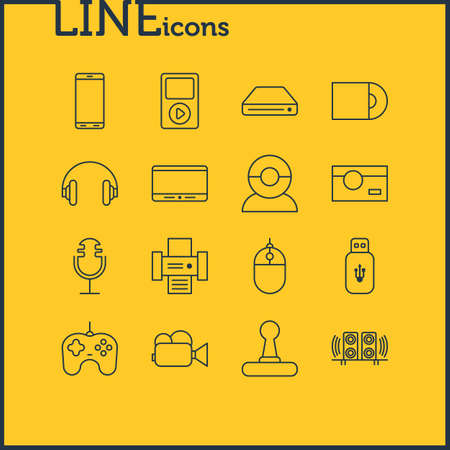 Vector Illustration Of 16 Device Icons. Editable Pack Of Photocopier, Photography, Headset And Other Elements.