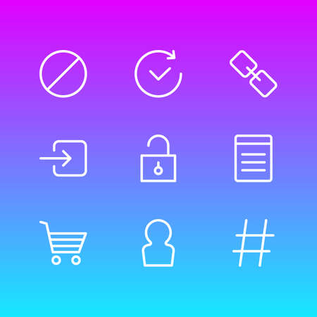 Vector Illustration Of 9 App Icons. Editable Pack Of Url, Sign In, Padlock And Other Elements.