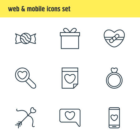 Vector Illustration Of 9 Passion Icons. Editable Pack Of Cupid, Messenger, Smartphone And Other Elements.