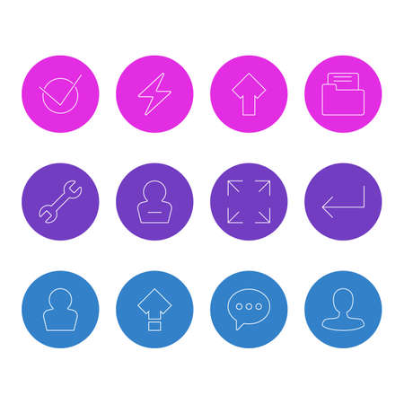 Vector Illustration Of 12 User Icons. Editable Pack Of Upward, Wrench, Displacement And Other Elements. Illustration
