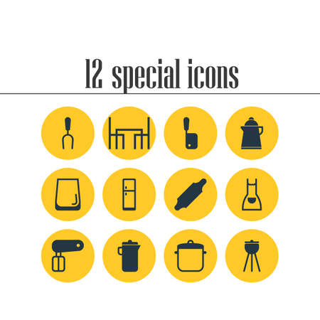 Vector Illustration Of 12 Restaurant Icons. Editable Pack Of Barbecue, Whisk, Butcher Knife And Other Elements.