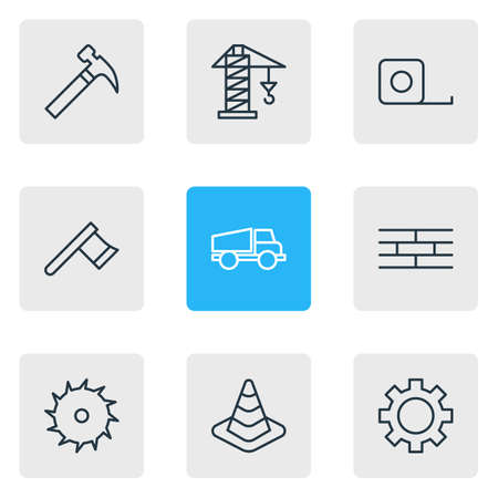 automotive industry: Vector Illustration Of 9 Industry Icons. Editable Pack Of Measure Tape, Cogwheel, Lorry And Other Elements.