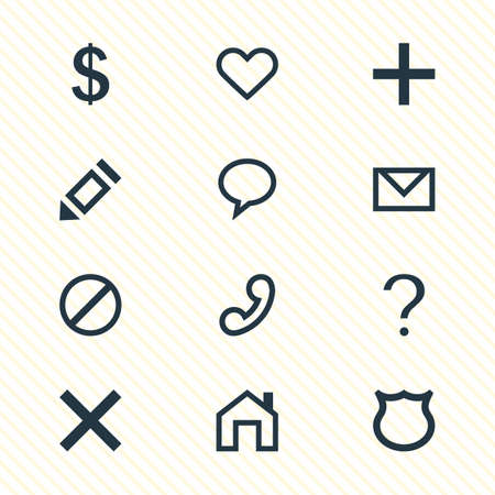 Vector Illustration Of 12 Interface Icons. Editable Pack Of Access Denied, Help, Mainpage And Other Elements.