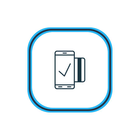 valid: Vector Illustration Of Mobile Transaction Outline. Beautiful Protection Element Also Can Be Used As Easy Payment Element.