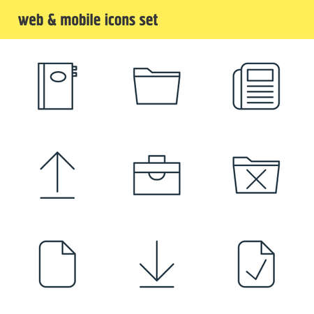 Editable Pack Of Delete, Install, Document And Other Elements.  Vector Illustration Of 9 Workplace Icons.