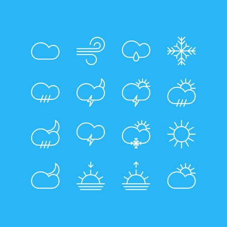 Vector Illustration Of 16 Atmosphere Icons. Editable Pack Of Windstorm, Sunrise, Cloudy And Other Elements.