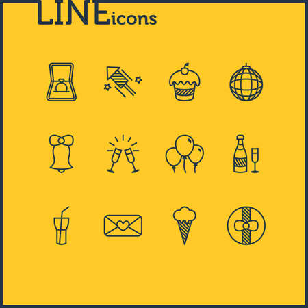 Vector Illustration Of 12 Feast Icons. Editable Pack Of Heart Letter, Engagement, Goblet And Other Elements.