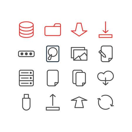 Illustrazione vettoriale di 16 icone di archiviazione. Pacchetto modificabile di file, documenti, database e altri elementi. Archivio Fotografico - 84647956