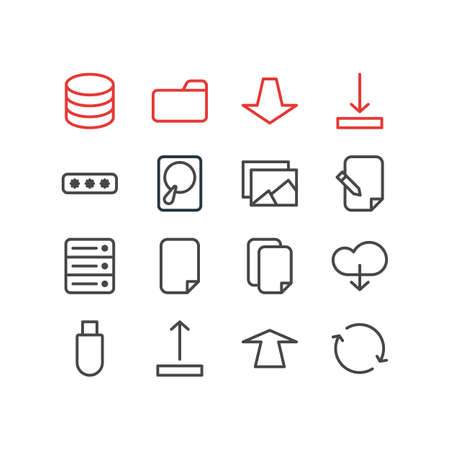 repeatability: Vector Illustration Of 16 Storage Icons. Editable Pack Of File, Documents, Database And Other Elements. Illustration