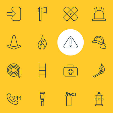 cross match: Vector Illustration Of 16 Necessity Icons. Editable Pack Of Exclamation, Medical Case, Water And Other Elements.