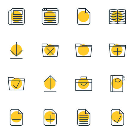addition: Vector Illustration Of 16 Bureau Icons. Editable Pack Of Blank, Portfolio, Journal And Other Elements.