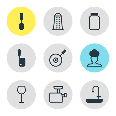 saute: Vector Illustration Of 9 Restaurant Icons. Editable Pack Of Wine, Washstand, Slicer Elements.