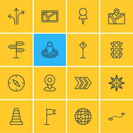 Vector illustratie van 16 pictogrammen van de locatie. Bewerkbare set Marker, kaart, routepost en andere elementen. Stock Illustratie