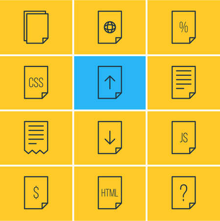 install: Vector Illustration Of 12 Document Icons. Editable Pack Of Internet, Download, Percent And Other Elements. Illustration