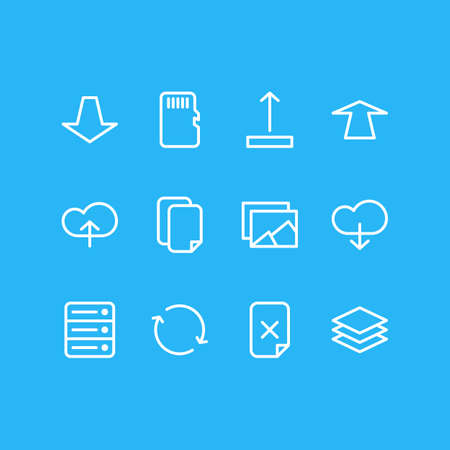 Vector Illustration Of 12 Archive Icons. Editable Pack Of Cloud, Memory, Arrow Up And Other Elements.