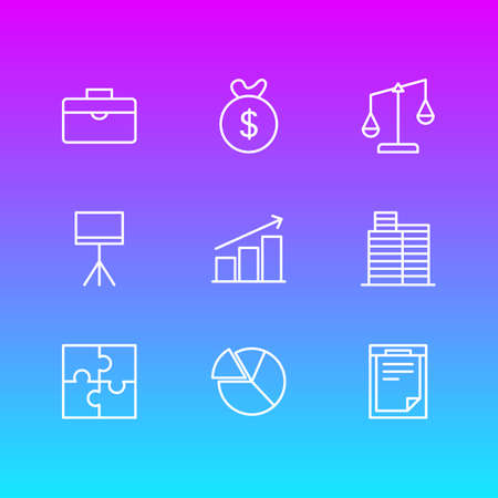 Editable Pack Of Columns, Balance, Portfolio And Other Elements.  Vector Illustration Of 9 Management Icons.