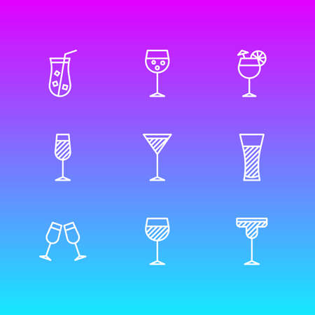 Vector Illustration Of 9 Drinks Icons. Editable Pack Of Cocktail, Champagne, Martini And Other Elements.