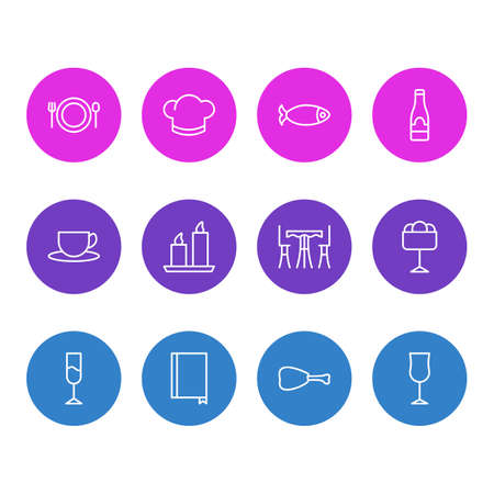 Vector Illustration Of 12 Eating Icons. Editable Pack Of Table, Book, Tea And Other Elements.