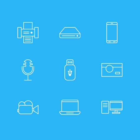 Editable Pack Of Usb Card, Memory Storage, Camcorder And Other Elements.  Vector Illustration Of 9 Hardware Icons.